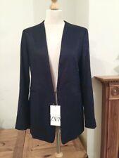 Zara Navy Blue Linen Blazer Jacket Size L UK14 Bnwt