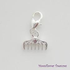 Shiny Silver Plate & Rhinestone Hair Comb Charm fit Clip On Charm Bracelet