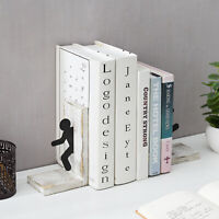 MyGift Set of 2 Whitewashed Wood Bookends with Metal Running Man Cutout Design