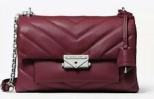 $378 New MICHAEL KORS CECE MD CNV CHAIN SHLDR LEATHER BERRY Quilted Handbag