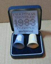 Wedgwood Jasperware Blue Yellow Christmas 83 Thimbles Boxed