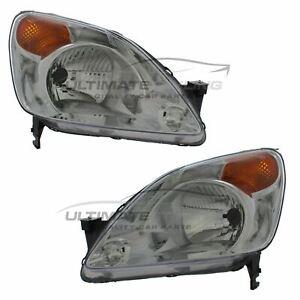 Honda CR-V 2002-2005 Chrome Front Headlight Headlamp Pair Left & Right