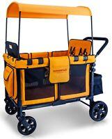 Wonderfold Wagon W4 Push Multi-Function 4 Passenger Quad Folding Stroller Orange