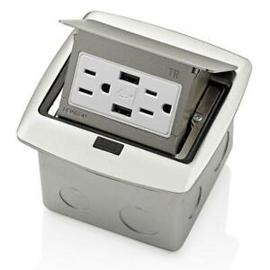 Leviton Pop-Up Floor Box w/ 15 Amp Outlet, Brushed Nickel