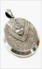 Very large Antique Victorian Sterling Silver locket 1880  button hole & button