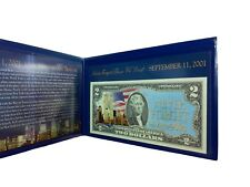 Never Forget 9/11/2001 Colorized U.S. $2 Bill In Display Folder, Legal Tender