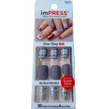 NEW Kiss Nails Impress Press On Manicure Short Gel Mauve Snowflake Christmas