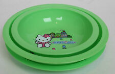 Hello Kitty 3 Piece Dinnerware Set Plastic Plate 2 Bowls Green Children's Kids