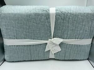 New Pottery Barn Belgian Flax Linen Handcrafted King Quilt ~Chambray~