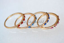 Wholesale Lots 10Pcs CZ Rhinestone Gold Plated Wedding Rings 16-19mm FREE