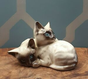 Royal Doulton Siamese Cat Kittens Figurine 1296 ~Vintage~
