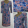 NEW M&S Per Una Tea Summer Jersey Dress V Neck Blue Bright Orange Size 6-22