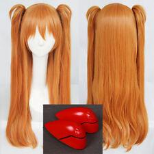 EVA Asuka Langley Soryu Long Clip Ponytails Hair Cosplay Wig + Headwear Hairpins