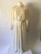 Vintage Cream Lace Button Neck Long Sleeve Sheer Dress Wedding Boho 70's XS SM