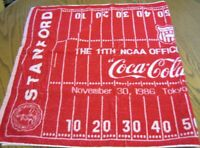 "Coca Cola Towel NCAA Stanford & Arizona Football Game Tokyo 28"" X 54"""