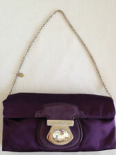 Tod's Italian Designer Purple Satin Evening Shoulder Bag / Clutch Purse Diamante