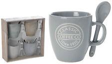 Juego de 4 tazas café Jarro Con Leche gres incluye su correspondiente Cucharas