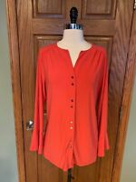 Susan Graver Tunic Shirt M Polyester Jersey Orange Flutter Sleeve Blouse Top
