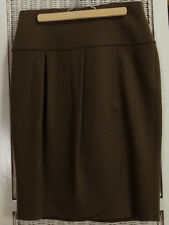 "MARC CAIN Soft Wrap-Style Skirt 28"" Waist Taupe Virgin Wool-Cashmere Blend"