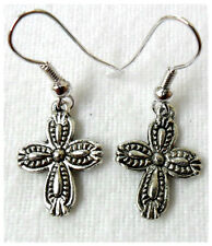 Dangle earrings - Tibetan silver style pattern cross