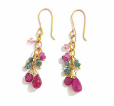 18k gold earrings ruby briolette green diamond beads natural gems pink sapphire