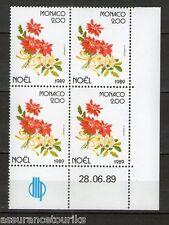 MONACO FLEURS NOËL - 1989 YT 1701 - COIN DATE - TIMBRES NEUFS** LUXE