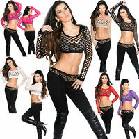 Sexy Clubbing Net Mesh Crop Top long sleeve Dance/Beach Wear Size 6 8 10 Black S