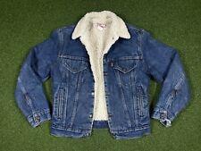 Levis Vintage Denim Sherpa Trucker Jacket ORANGE TAB Made In USA Size 38