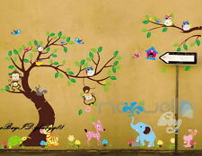 Jungle Monkey Owl Animals Tree Wall Decals Removable sticker kids nursery decor