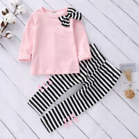 ❤️ Toddler Kids Baby Girls Clothes Striped T Shirt Tops Long Pants Outfits Set