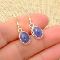 Tanzanite Oval 925 Sterling Silver Blue Drop Earrings Indian Jewellery N2