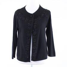Black lambswool TALBOTS beaded trim 3/4 sleeve cardigan sweater S