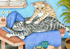 ACEO art print Cat 456 massage from funny original painting by L.Dumas