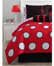 New Girl's Polka Dot Full Size Comforter Set Bedding Pink Black Bedspread Sheets