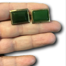 Green Jade Gemstone 14K Yellow Gold Cufflinks Vintage Mens Jewelry