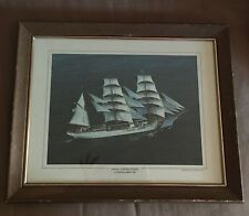 EAGLE UNITED STATED COAST GUARD SAIL FRAMED 1978 PRINT AMERICAN CREST INC LI