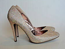 KISS & TELL {Size 8} Women's Gold Rhinestone and Sparkles High Heels EXCELLENT!