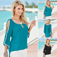 Women Cold Shoulder Blouse 3/4 Sleeve Strappy Loose Casual Summer Tops T-Shirts