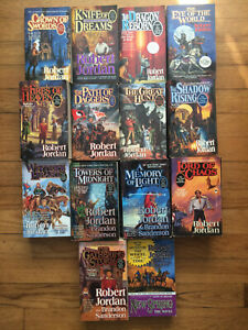 """Robert Jordan lot of 14 """"Wheel of Time"""" books, complete series in good condition"""