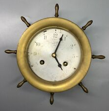 Aug Schatz and Sohne Nautical Ships Wheel Brass Clock - Germany