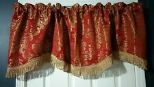 Formal Valance Heavy Fringe Floral Wine Gold Scalloped 18.5x58 2 Available