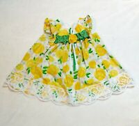 Bonnie Baby 3-6M Cotton Dress Baby Girl Yellow Roses Green White Polka Dot