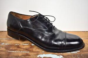 Salvatore Ferragamo Solid Black Leather Cap Toe Balmoral Size: 11D