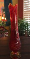 VINTAGE FENTON RED/YELLOW TIPPED MID CENTURY AMBERINA STRETCH GLASS HOBNAIL VASE