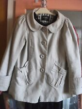 ATMOSPHERE CREAM COTTON BUTTON UP JACKET WITH CHECK LINING SIZE 10