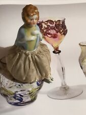 Antique/vintage/art Deco Pin Cushion Half Doll Old Porcelain Figurine With Shoes