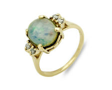 Women's Opal & Natural Mined Diamond 5 Stone Ring 14k SOLID Gold