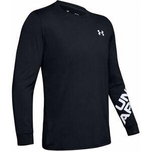 UNDER ARMOUR Men's UA Wordmark t shirt top XS S BLACK long sleeve LOOSE FIT