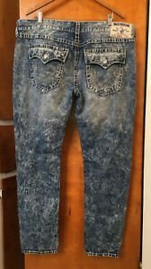 TRUE RELIGION Straight Leg Flap Pocket Jeans Light Distressed Wash Sz 44 X 34