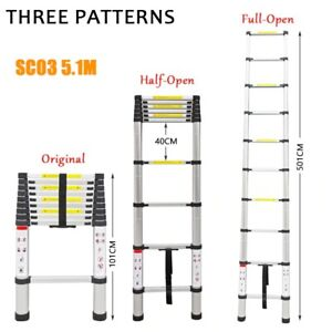 Telescoping Ladders Foldable Extension Ladder with Balance Bar 5.1M Portable